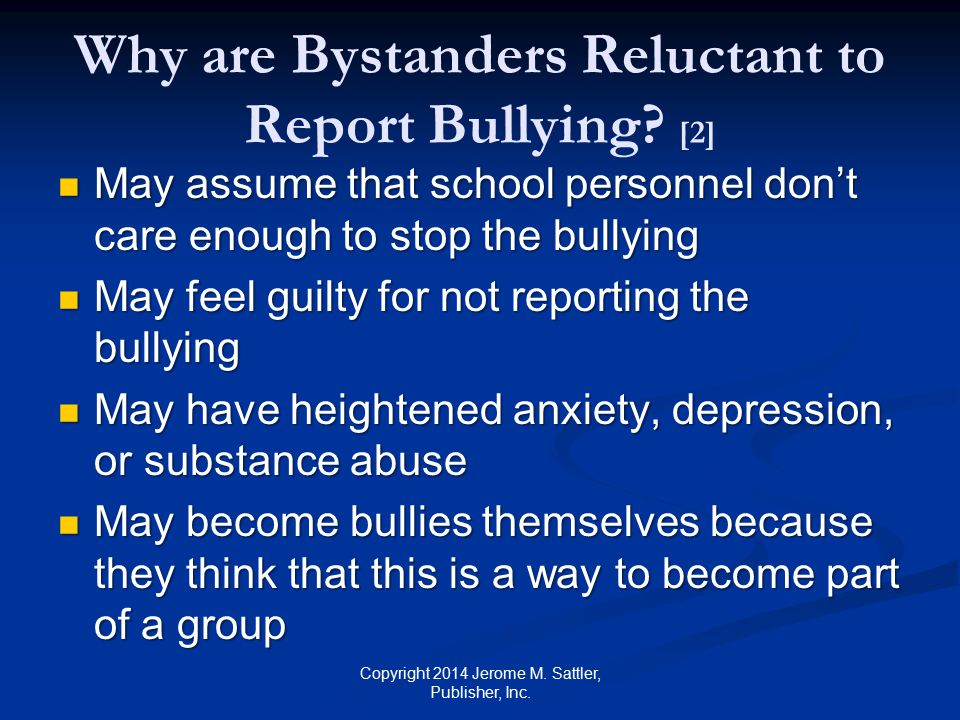 Why are Bystanders Reluctant to Report Bullying [2]